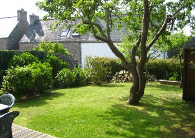 holiday home garden view in brittany
