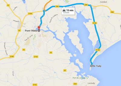 Map showing the way from Pont L'Abbé to Ile Tudy