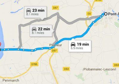 Map showing the way from Pont L'Abbé to Pointe de la Torche