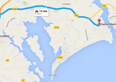 Map showing the way from Pont L'Abbé to Sainte Marine Port